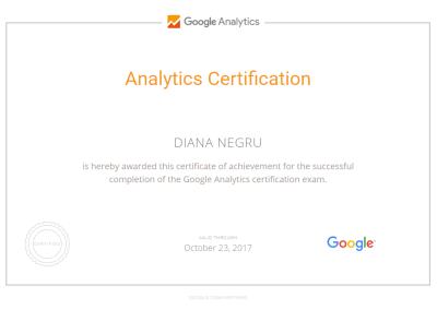 Analytics Certification - Diana Negru