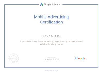 Mobile Certification - Diana Negru