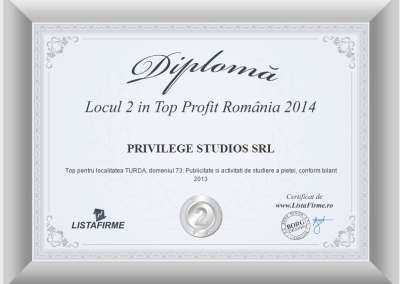 Top firme Romania 2013 2014 PRIVILEGE STUDIOS SRL CJ