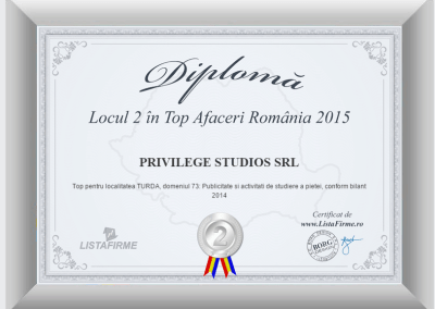 Top firme Romania 2014 2015 PRIVILEGE STUDIOS SRL CJ loc 2